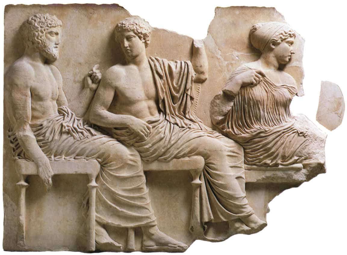 Poseidon, Apollo and Artemis Parthenon Frieze (East Side), c. 442-38 BC, Acropolis Museum..jpg