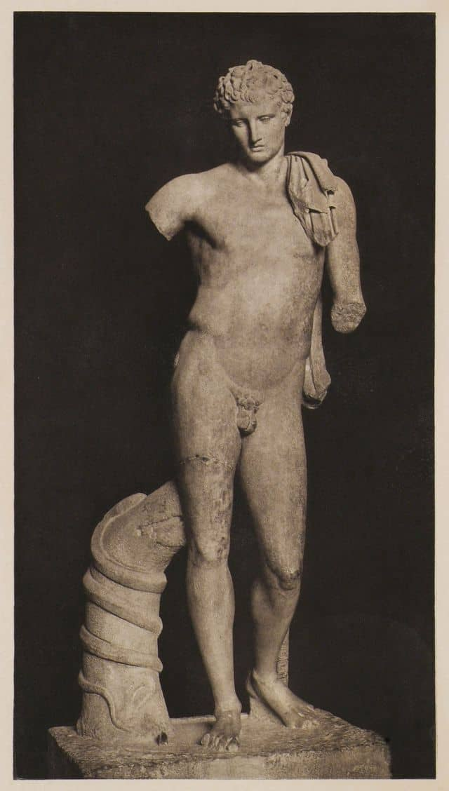 Hermes of Andros, marble statue of 1st c. B.C. based on an older bronze statue by Praxiteles, Archaeological Museum of Andros, Greece.  .jpg